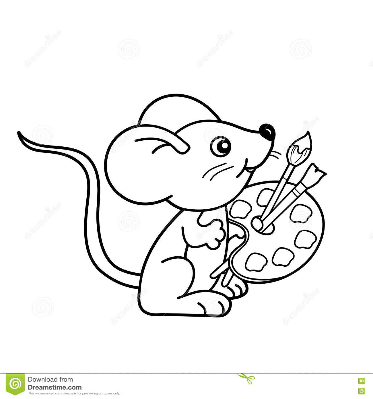 1300x1390 Coloring Page Outline Of Cartoon Little Mouse With Brushes And