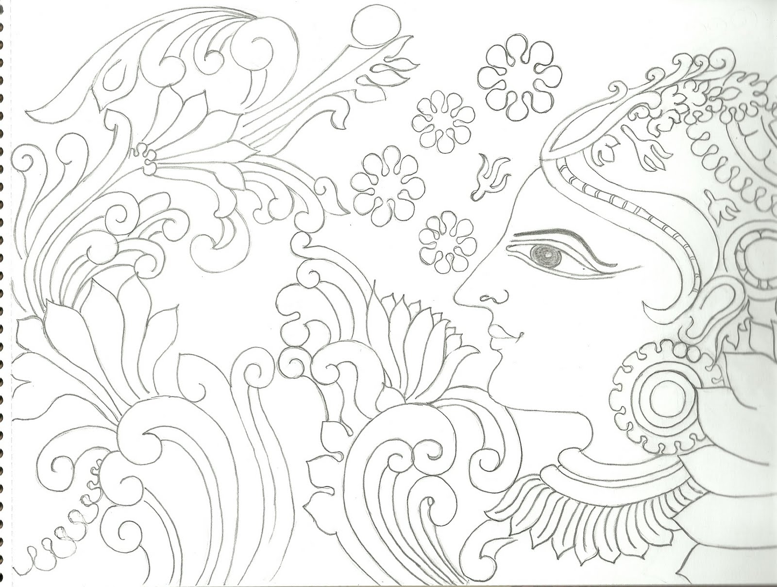 1600x1208 Kerala Mural Painting Pencil Sketches