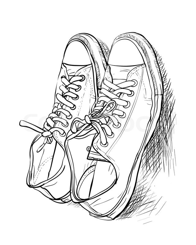 640x800 Hand Drawing A Pair Of Casual Shoes