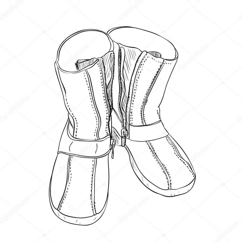1024x1024 Hand Drawn Sketch With Pair Of Shoes Stock Vector Beatwalk