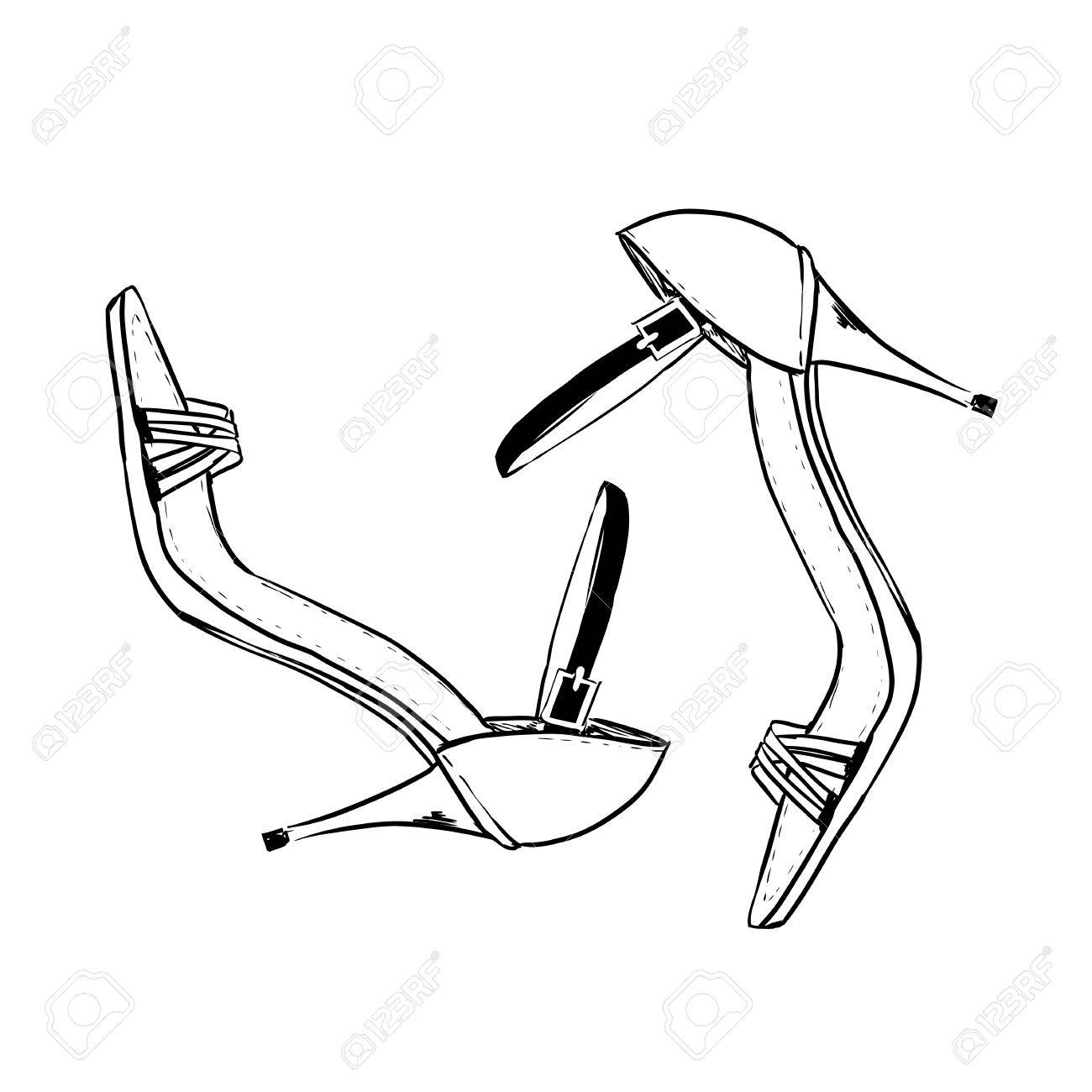 1300x1300 Pair Of Elegant Woman Shoes. Court Shoes On High Heels. Hand