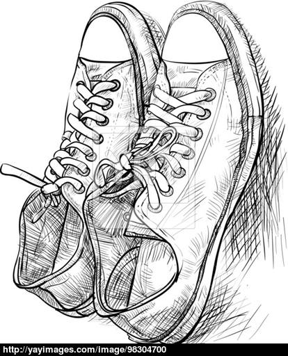 414x512 Pair Of Casual Shoes With Shade Vector