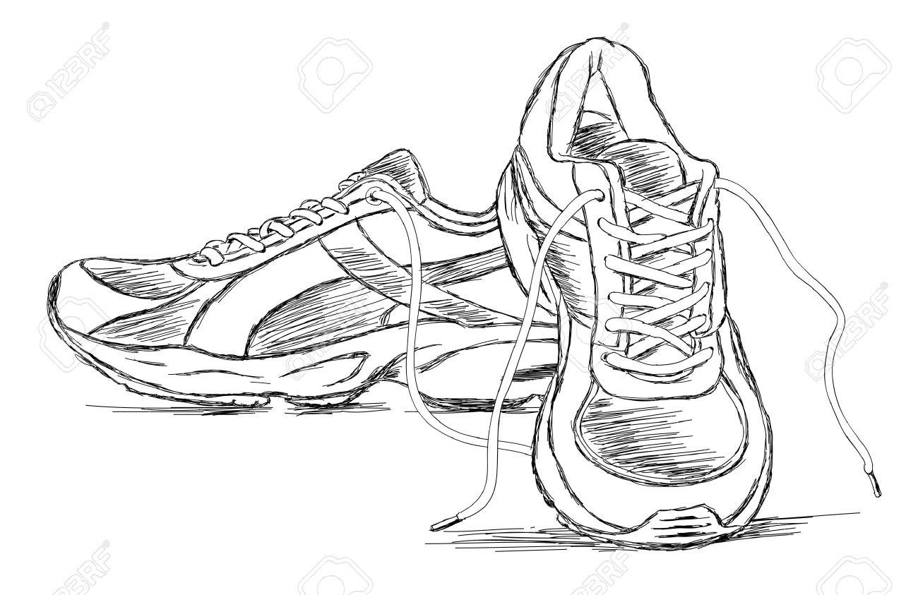 1300x843 Detailed Handmade Sneakers Shoe Vector Sketch Illustration Royalty