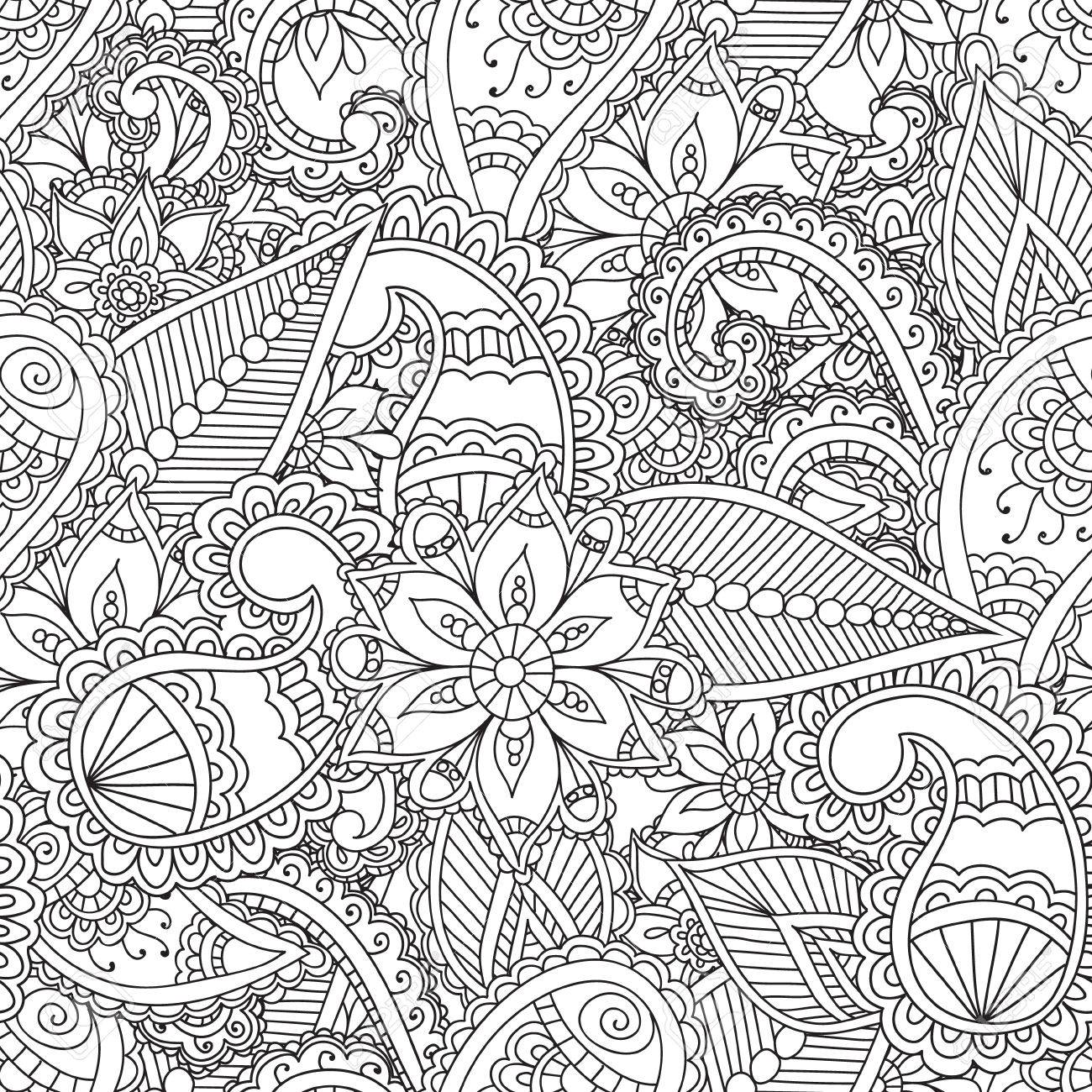 1300x1300 Coloring Pages For Adults. Seamless Pattern.henna Mehndi Doodles