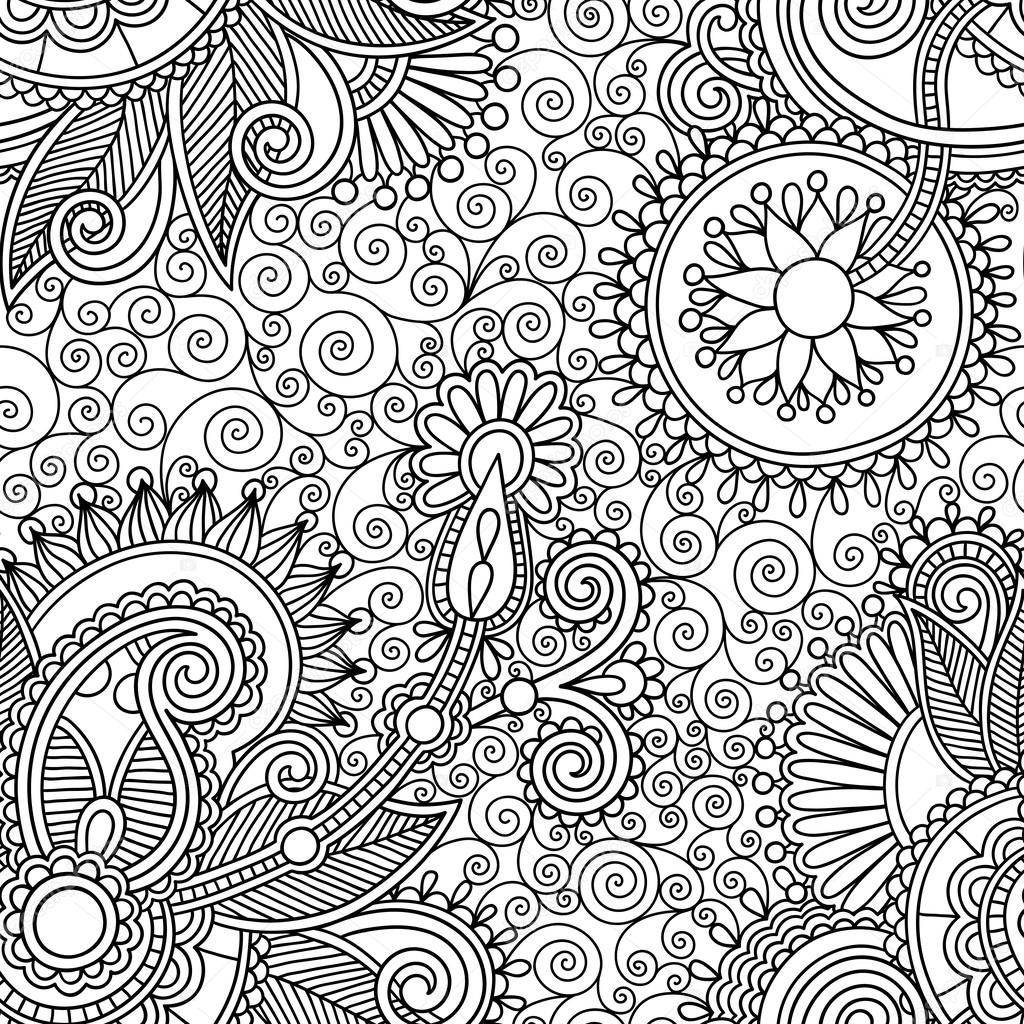1024x1024 Digital Drawing Black And White Ornate Seamless Flower Paisley