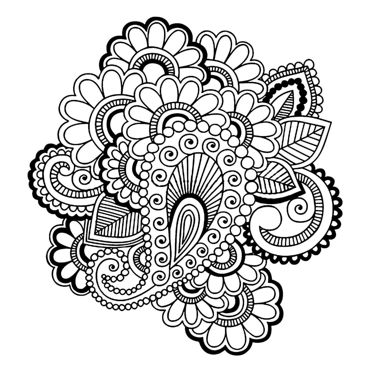 1200x1200 Easy To Draw Black And White Paisley Design