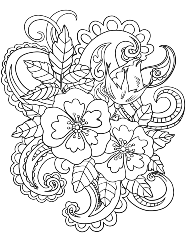 371x480 Flowers With Paisley Patterns Coloring Page Free Printable