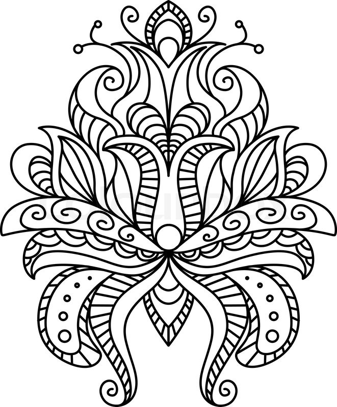 661x800 Ornate Paisley Floral Element In A Black And White Line Drawing