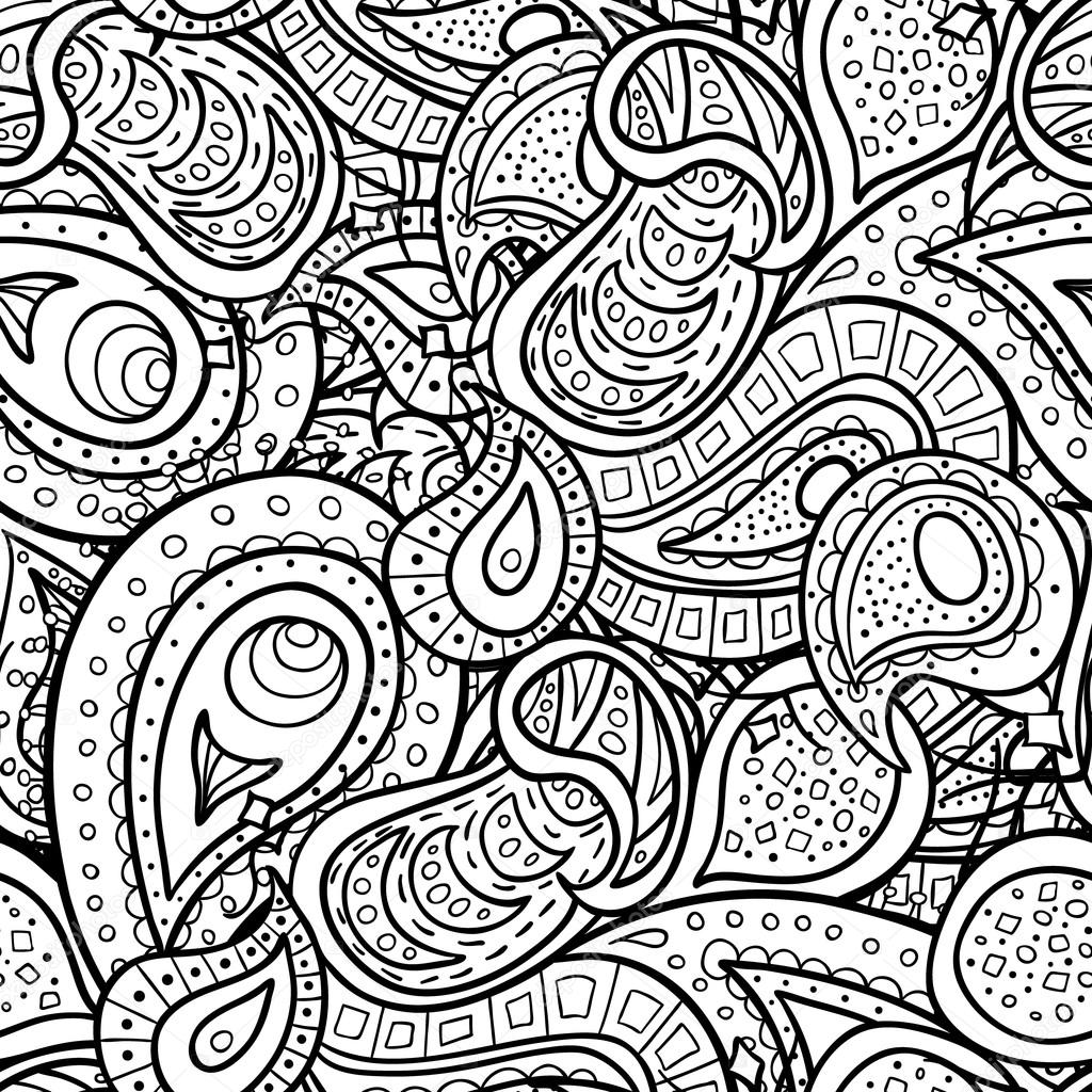 1024x1024 Paisley Doodle Outline Seamless Pattern Stock Vector Sanumko