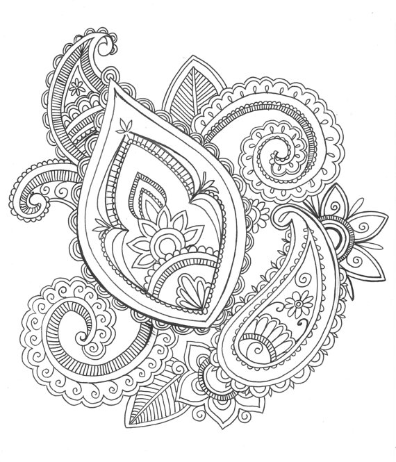 570x665 8x10 Art Print Henna Style Paisley Design Ink By Printsperfect