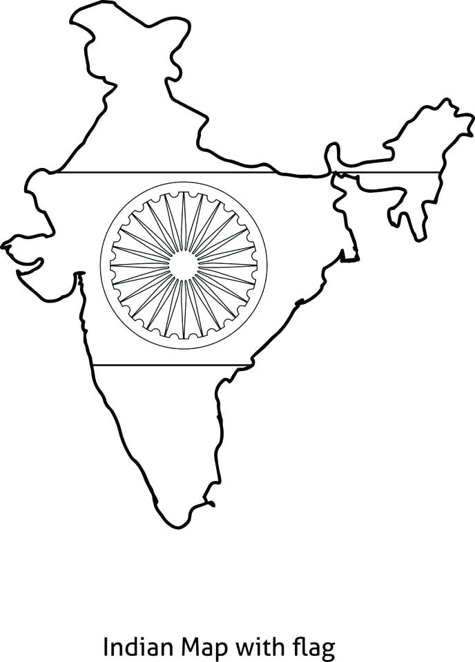 688x958 Indian Flag Coloring Page
