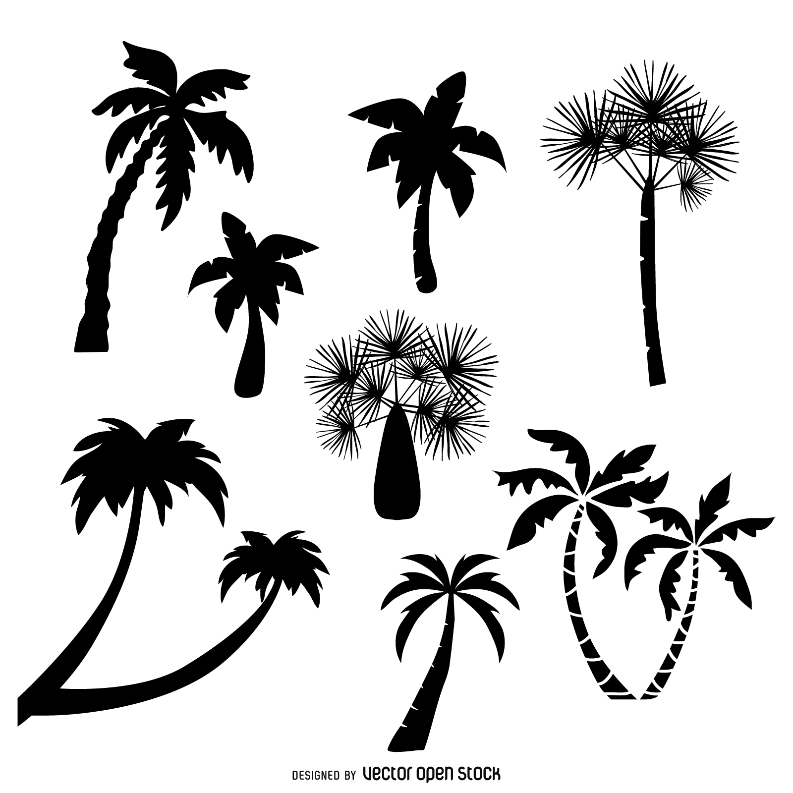1600x1600 Collection Of Palm Trees Silhouettes