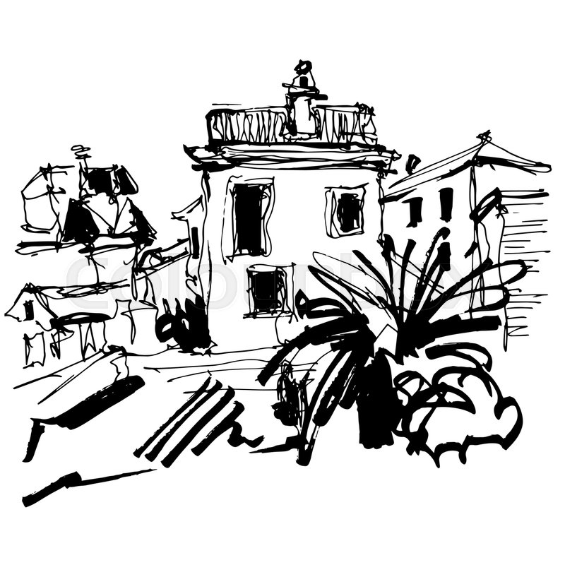 800x800 Black And White Sketch Drawing Of Historical Building With Palm