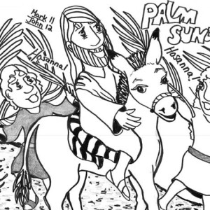 300x300 Drawing Of Palm Sunday Coloring Page Color Luna