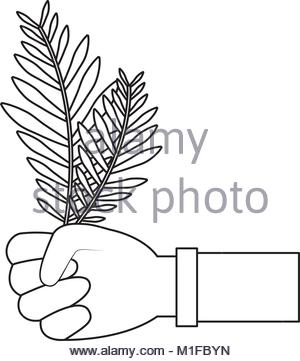 300x361 Hand Holding Tropical Palm Leaf. Top View Stock Photo, Royalty