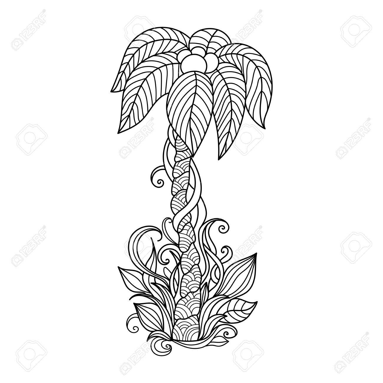 1300x1300 Palm Tree. Hand Drawn Illustration.pattern For Coloring Book