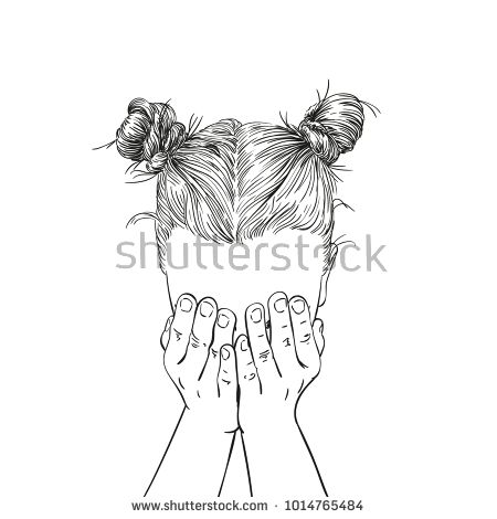 450x470 Sketch Of Teenage Girl With Two Buns Hairstyle Covered Her Face