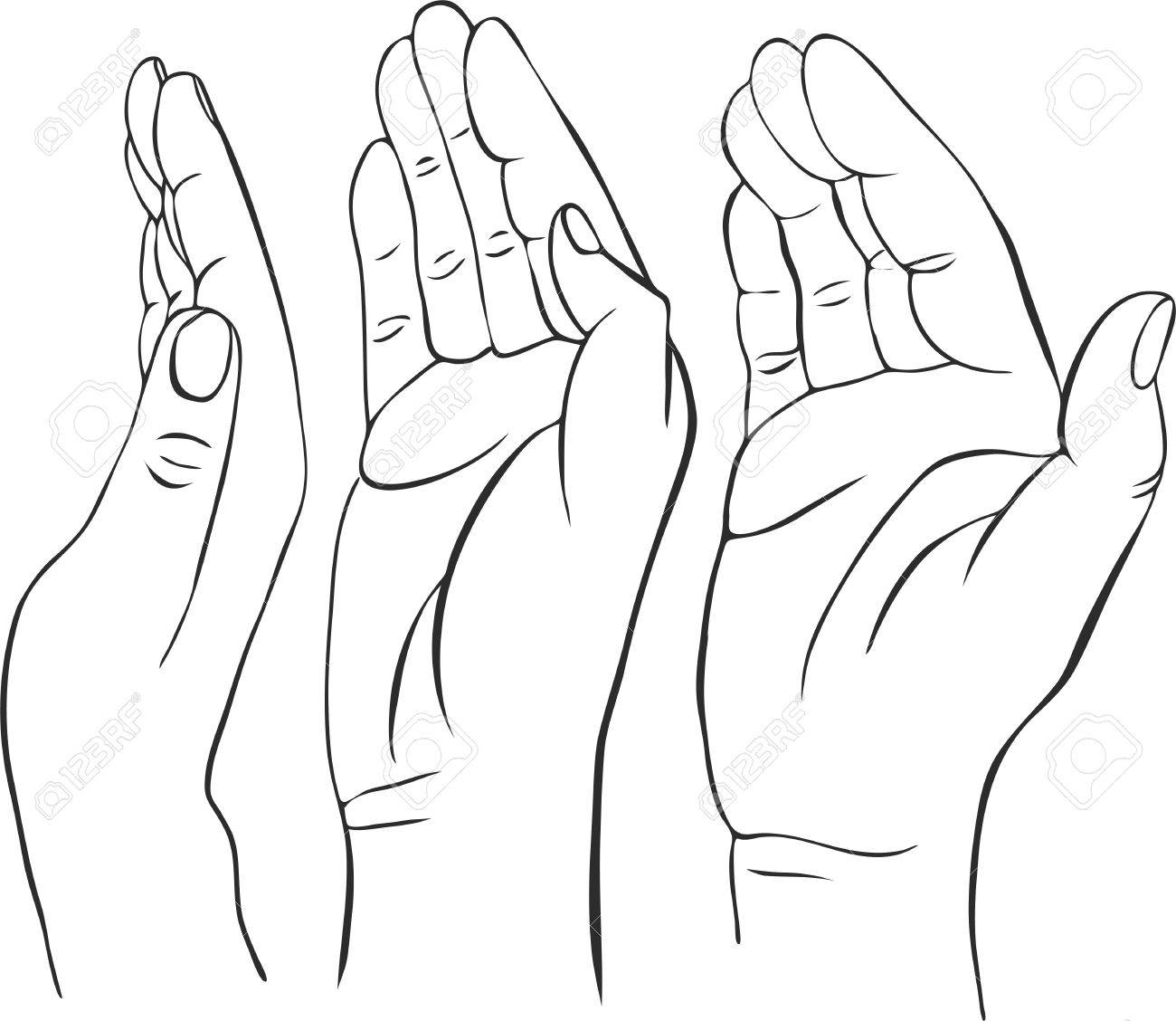 1300x1128 Three Hands With Open Palms, Hand Drawn Vector Illustration