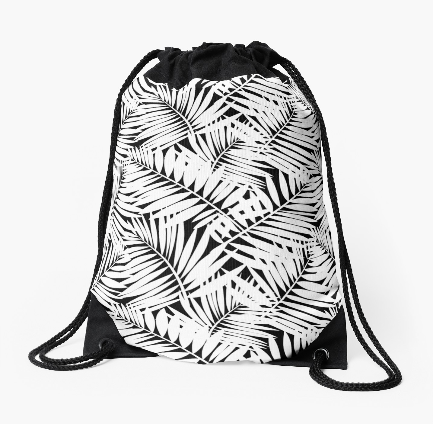 1435x1404 Tropical Print In Black And White With Palm Leaves Drawstring