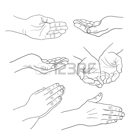 450x450 Hands Palm Set Linear Drawing On White Background Royalty Free