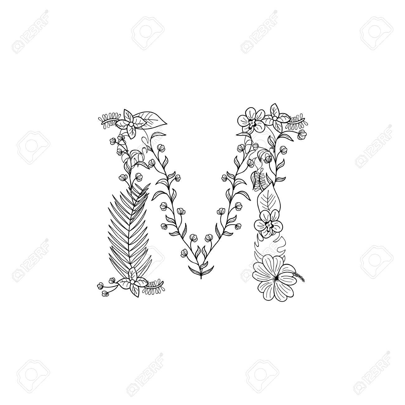 1300x1300 Tropical Floral Summer Pattern Hand Drawn Ornamental Font