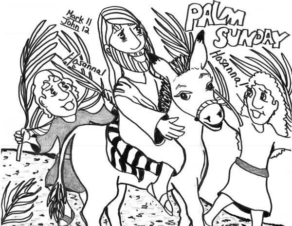 600x464 Kid Drawing Of Palm Sunday Coloring Page Color Luna