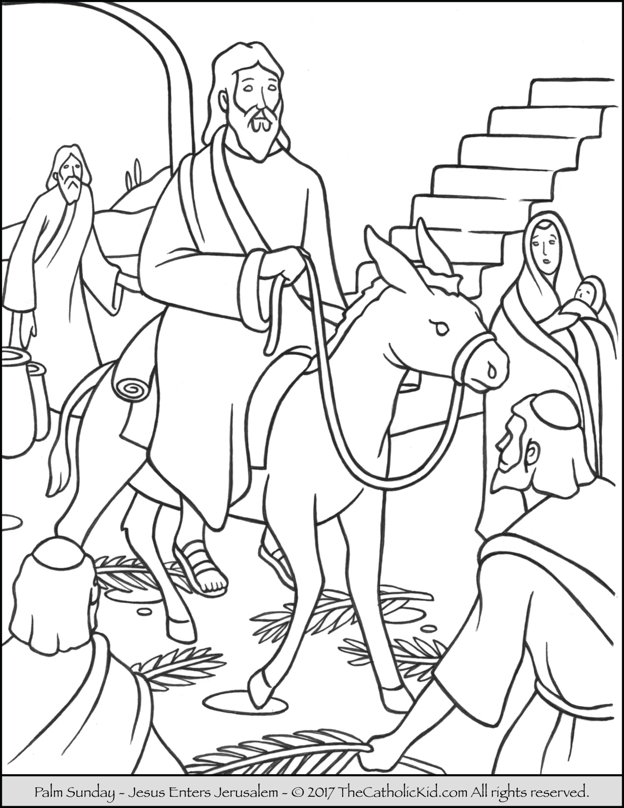 1275x1650 Palm Sunday Coloring Page