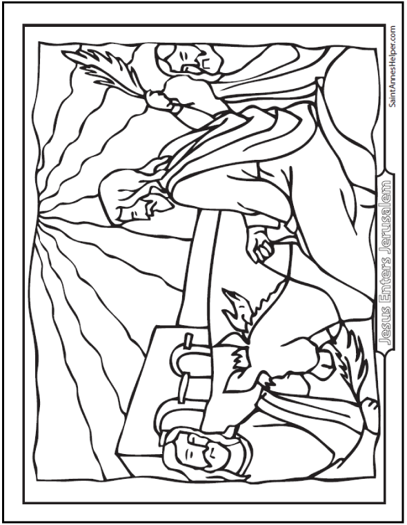 590x762 Palm Sunday Coloring Pages Jesus On The Before Easter Page