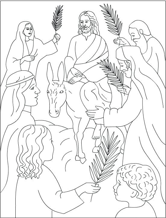 551x721 Catholic Palm Sunday Coloring Pages Cartoon Of Rode A Donkey