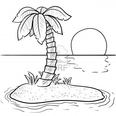 Palm Tree Beach Drawing
