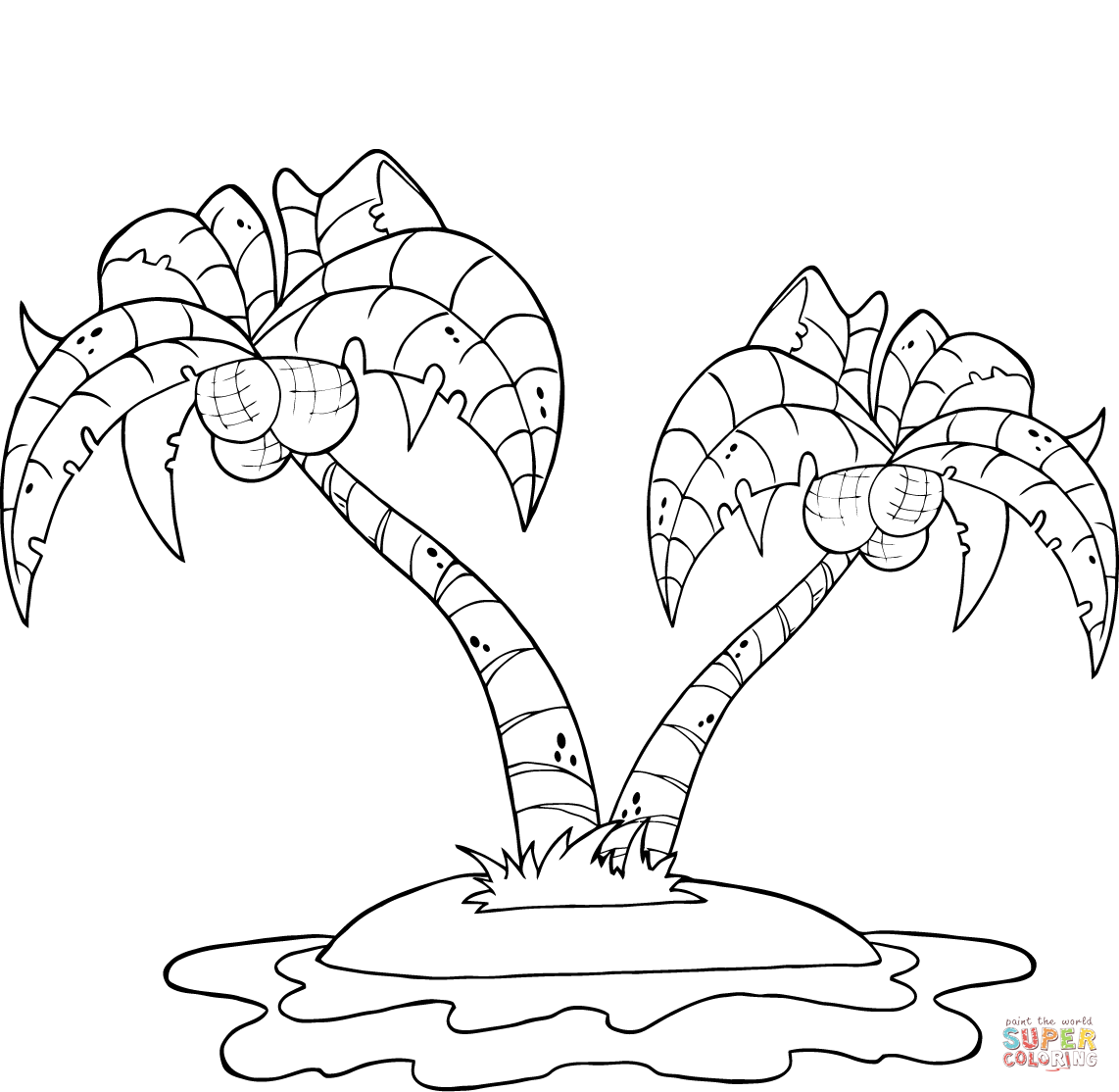 1142x1114 Coconut Palm Trees On Island Coloring Page Free Printable