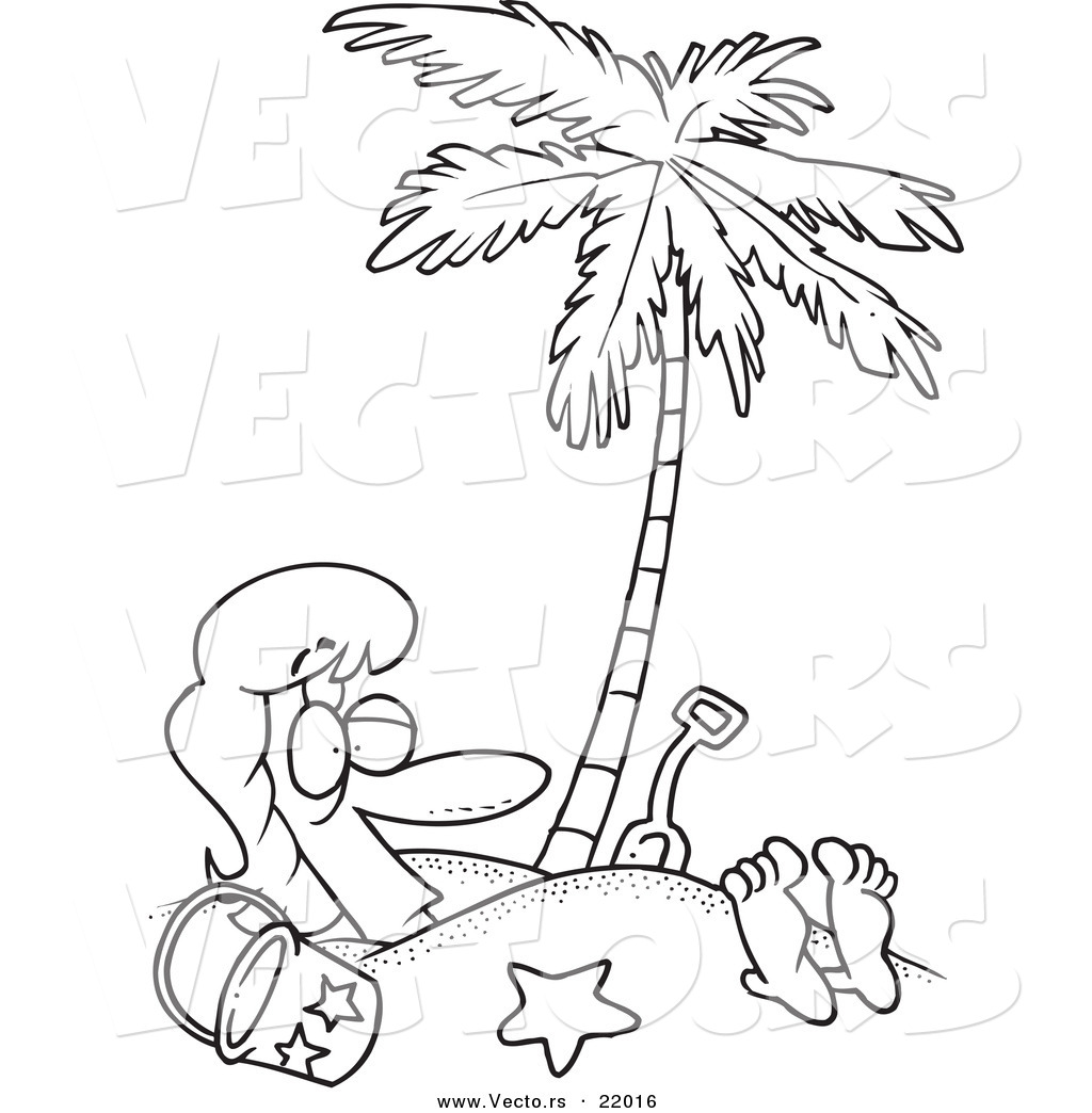 1024x1044 Vector Of A Cartoon Woman Buried In Sand Under A Palm Tree