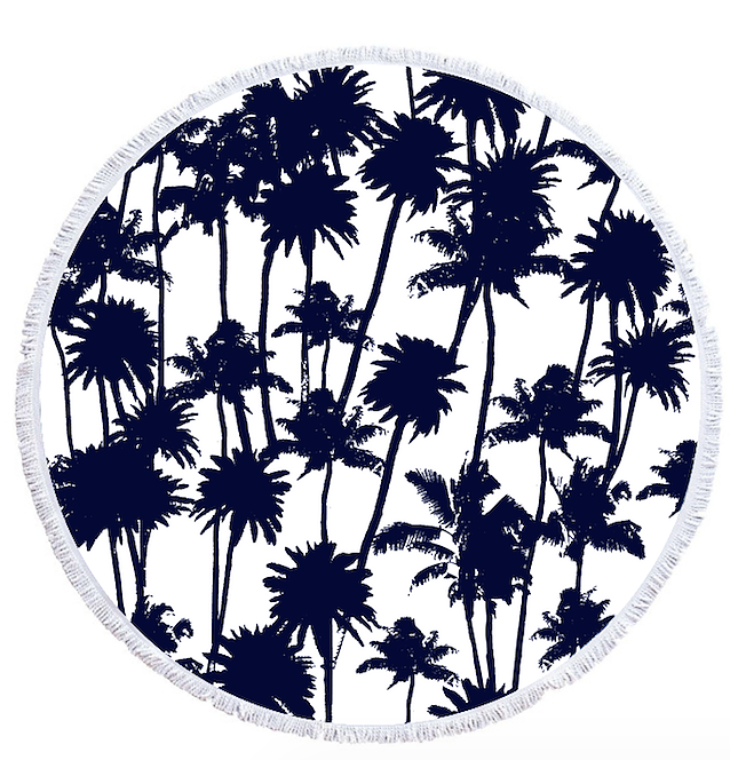 736x766 Beach Towel Palm Tree Patterned Round Beach Towel