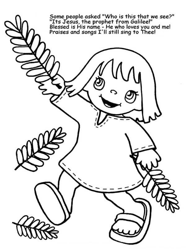 600x800 A Little Girl Wave Palm Tree Branches In Palm Sunday Coloring Page