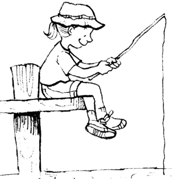 600x623 Little Girl Fishing With Palm Tree Pole Coloring Pages