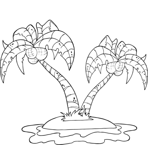 480x468 Coconut Palm Trees On Island Coloring Page Free Printable