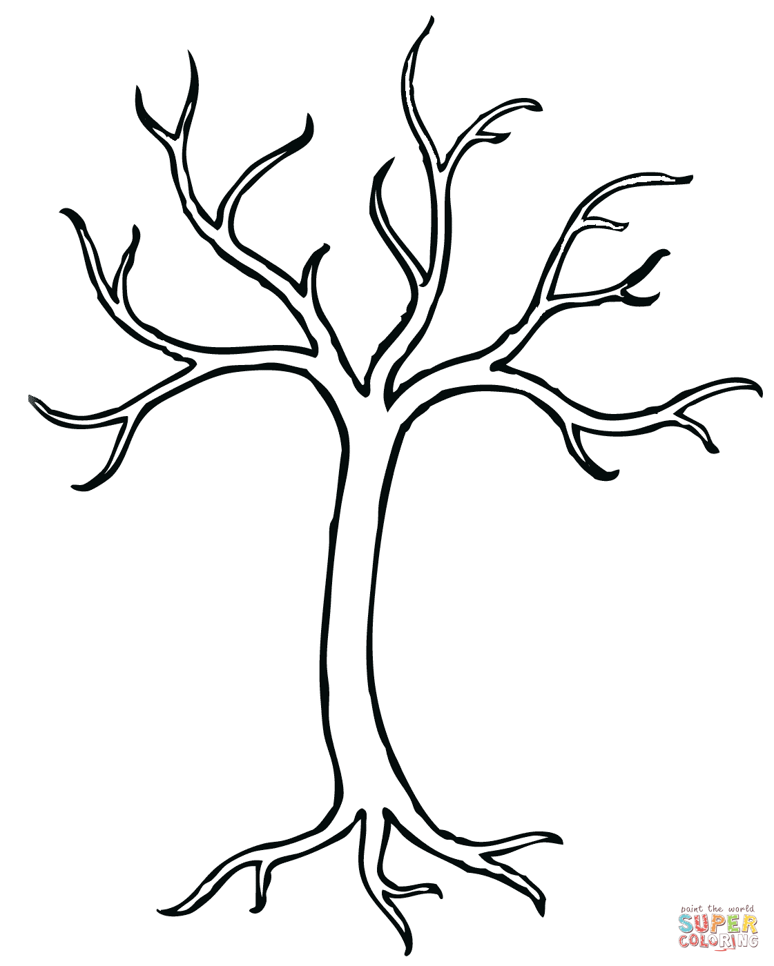 1121x1400 Bare Tree Coloring Page Free Printable Coloring Pages