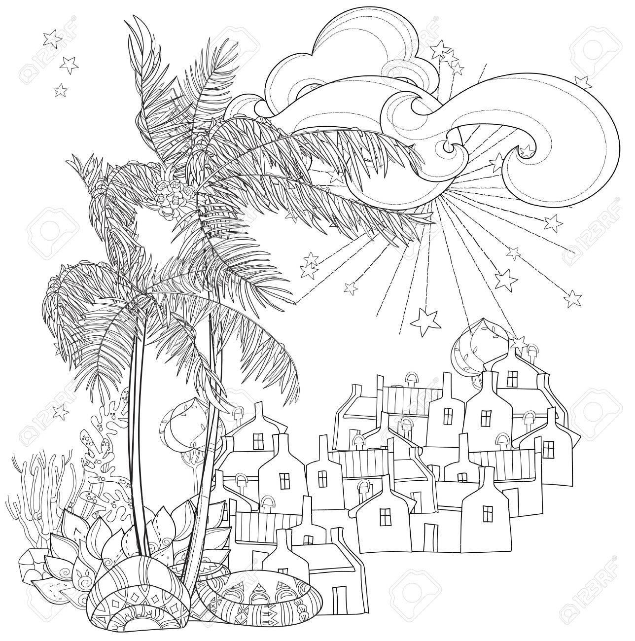 1288x1300 Hand Drawn Doodle Outline Palm Tree, Fairy Cartoon City