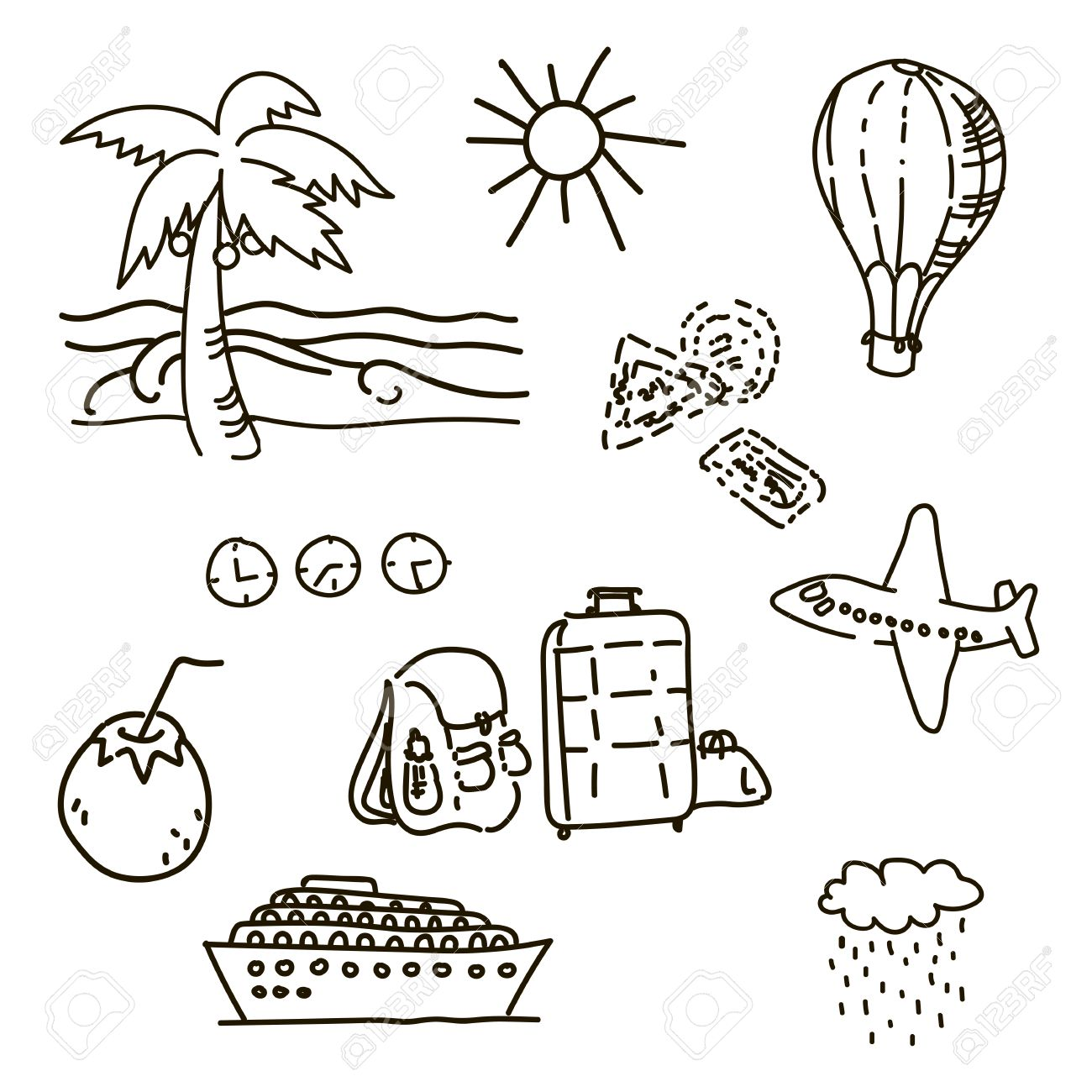 1300x1300 Outline Drawings By Hand In Travel Sketch Vector Palm Trees Sun
