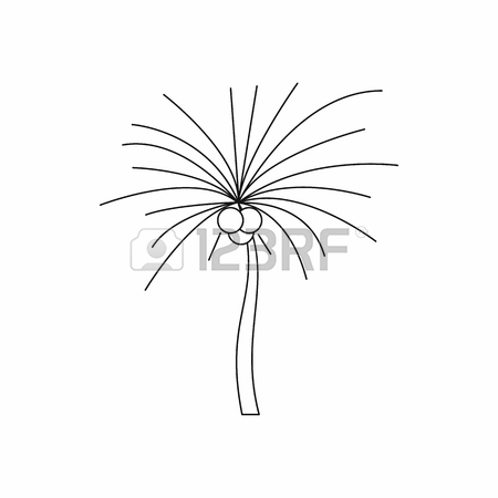 450x450 Spiny Tropical Palm Tree Icon In Outline Style Isolated On White