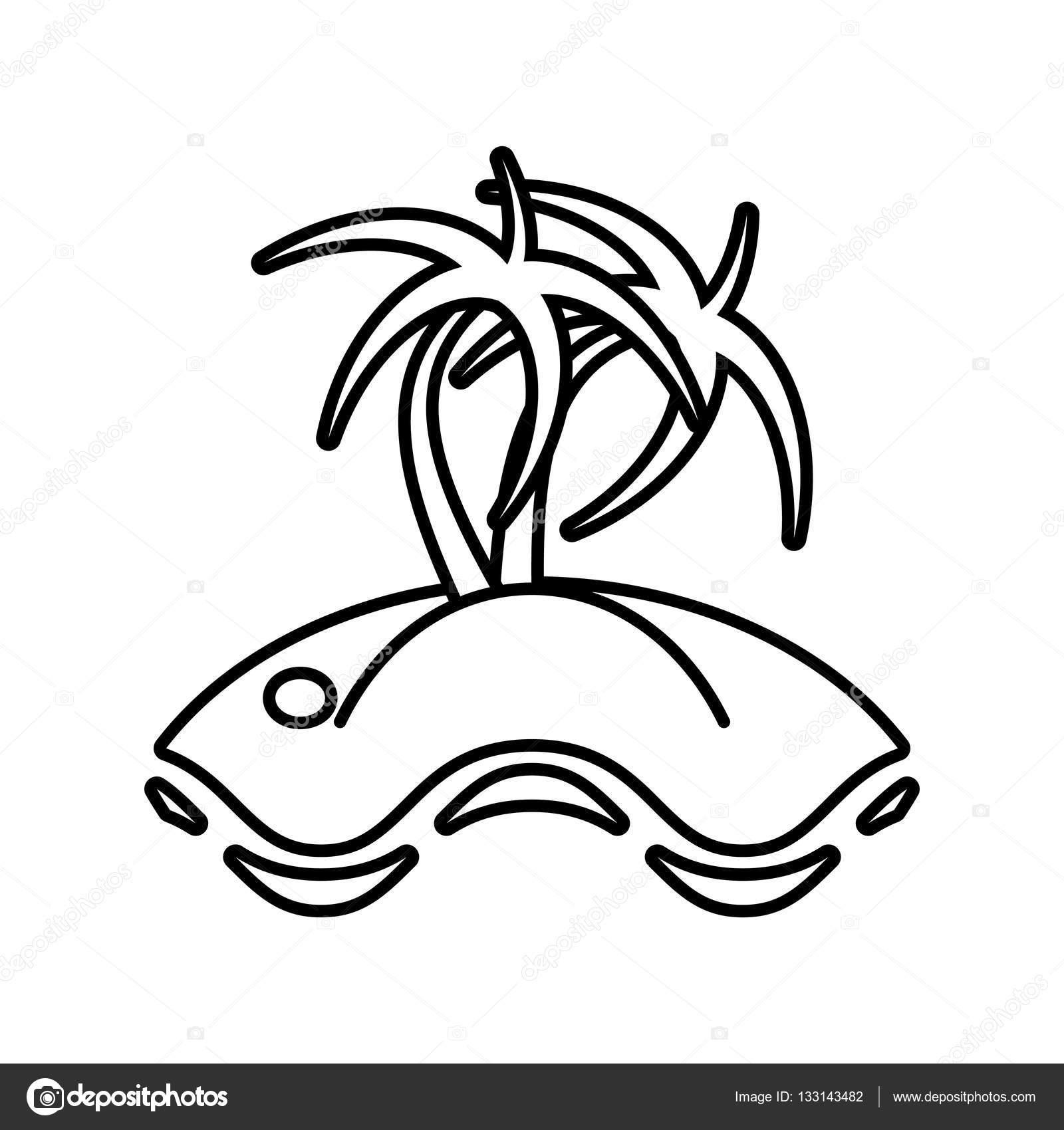 1600x1700 Outline Palm Tree Sand Beach Stock Vector Djv