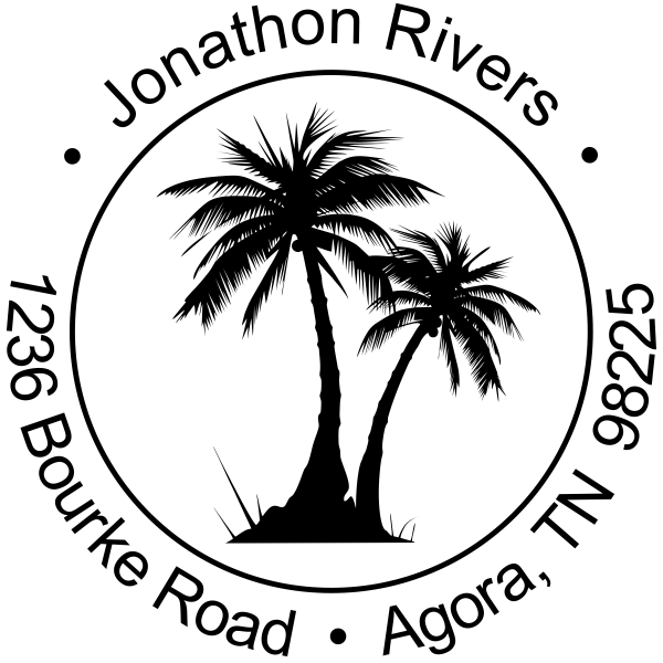 600x600 Palm Trees Round Rubber Address Stamp