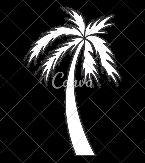 487x550 Black And White Palm Tree Travel Beach Icon