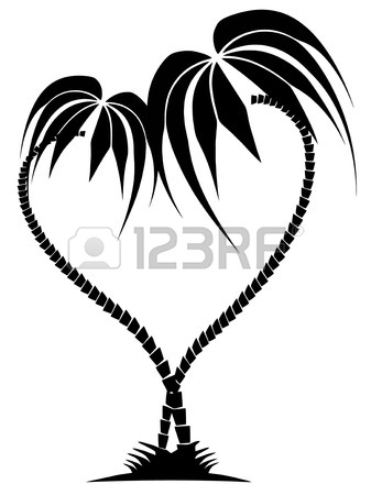 337x450 Drawing Of Two Palm Trees In The Form Of Heart On The Isolated
