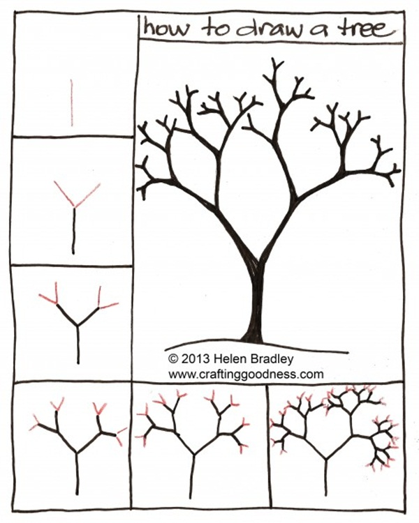 600x750 How To Draw A Tree (Step By Step Image Guides)