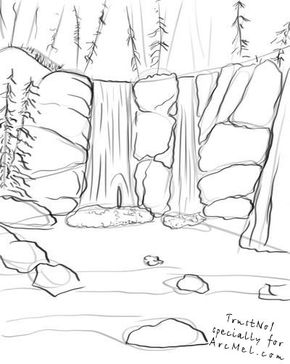 290x364 How To Draw A Waterfall Step 3 Picturi Draw