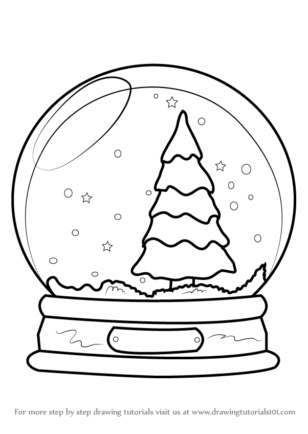 602x848 Learn How To Draw Snowglobe With Christmas Tree (Christmas) Step
