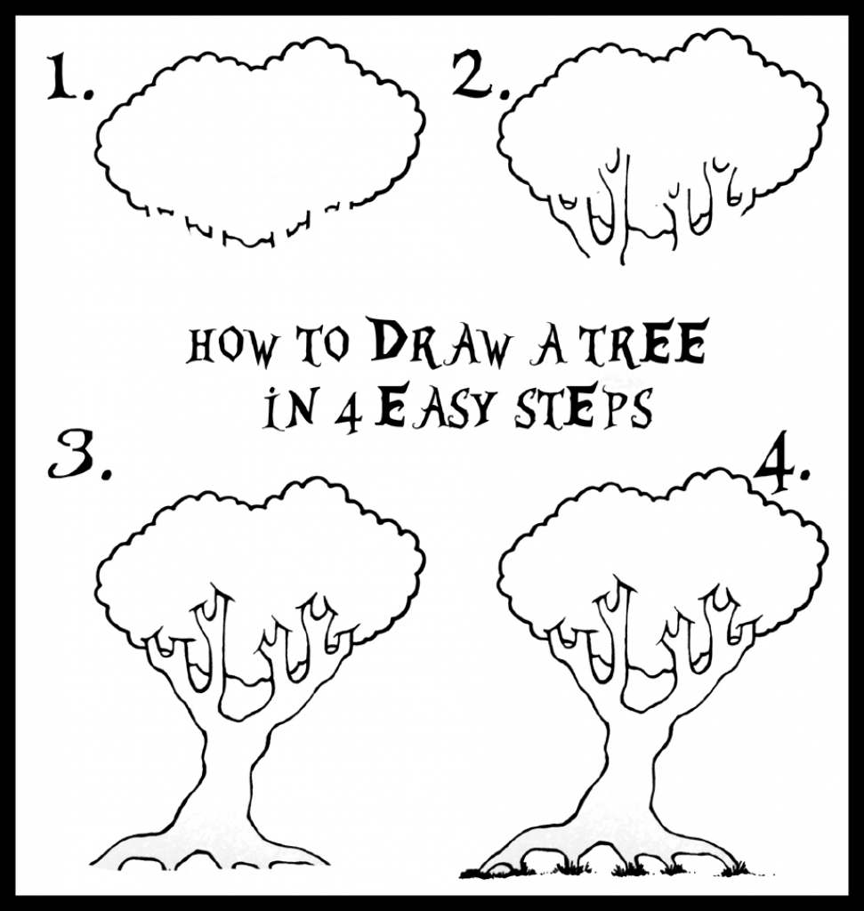 971x1024 Tree Drawing Step By Step