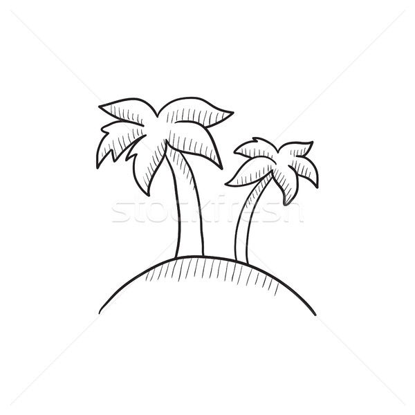 600x600 Two Palm Trees On Island Sketch Icon. Vector Illustration Andrei