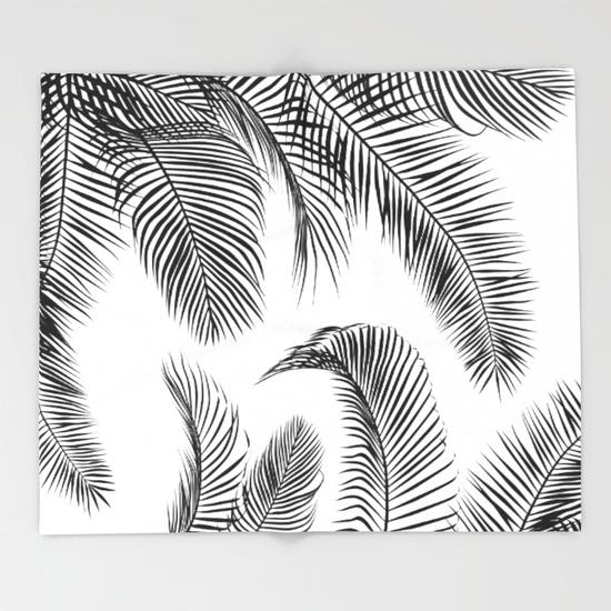 550x550 Black Palm Tree Leaves Pattern Throw Blanket By Martaolgaklara